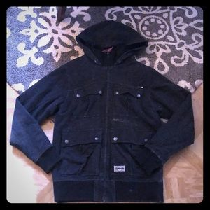 Men's Black Billabong Coat W/ Hood: Large